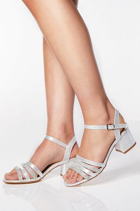 Sandalias de Tacón Plateadas con Brillantes de Corte Ancho