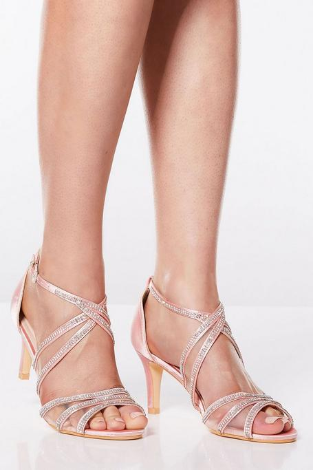 Sandalias de Tacón Rosa  con Brillantes