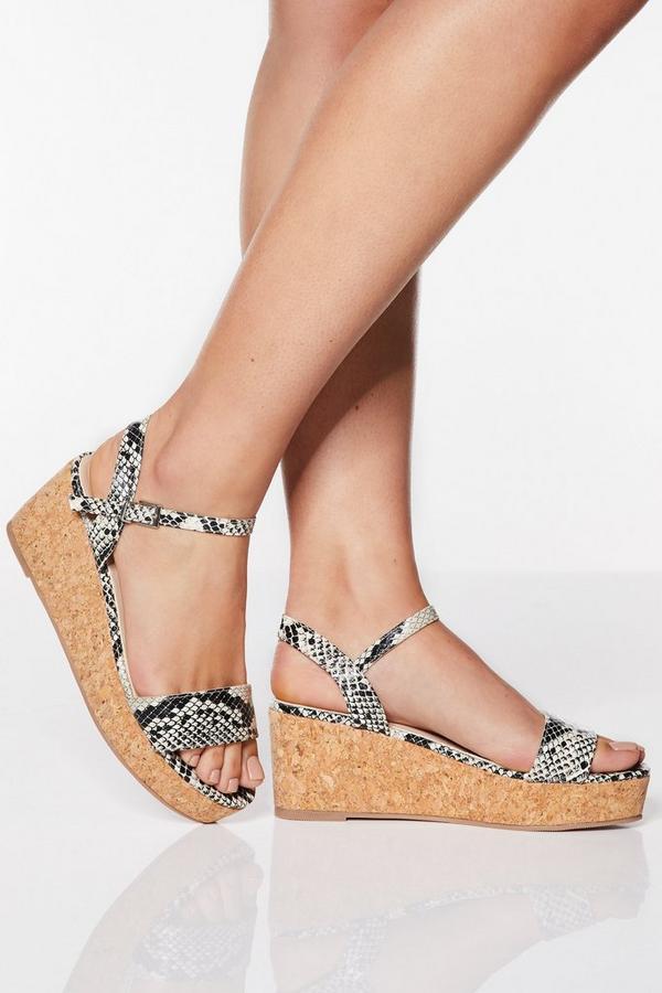 Sandalias de Cuña con Estampado de Serpientede de Corte Ancho
