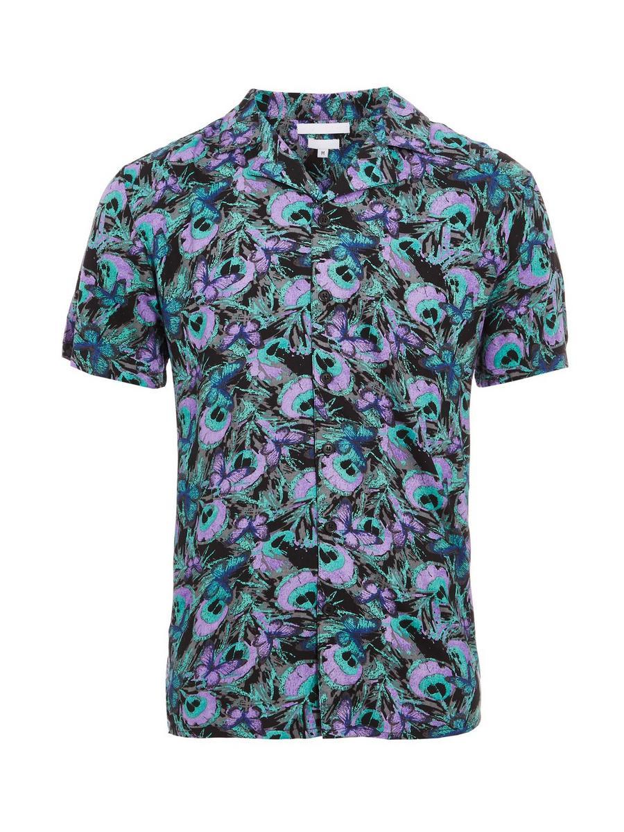 Peacock Print Short Sleeve Shirt