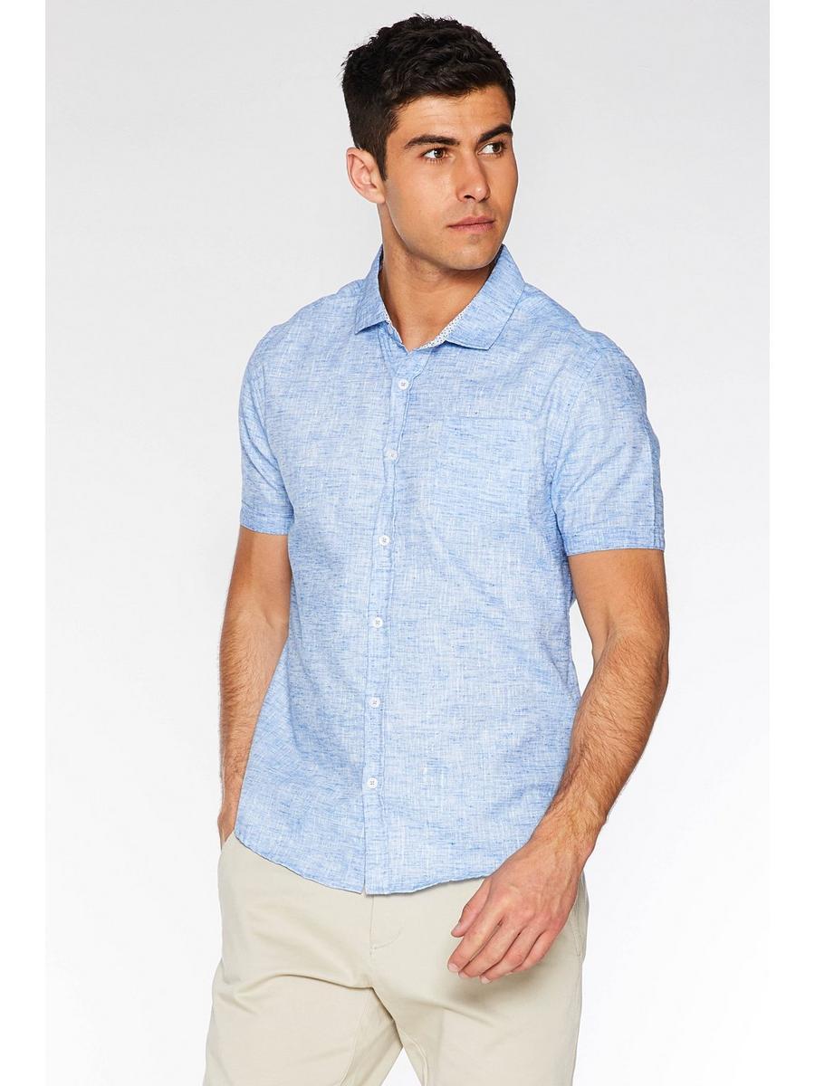 Aqua Blue Short Sleeve Linen Shirt