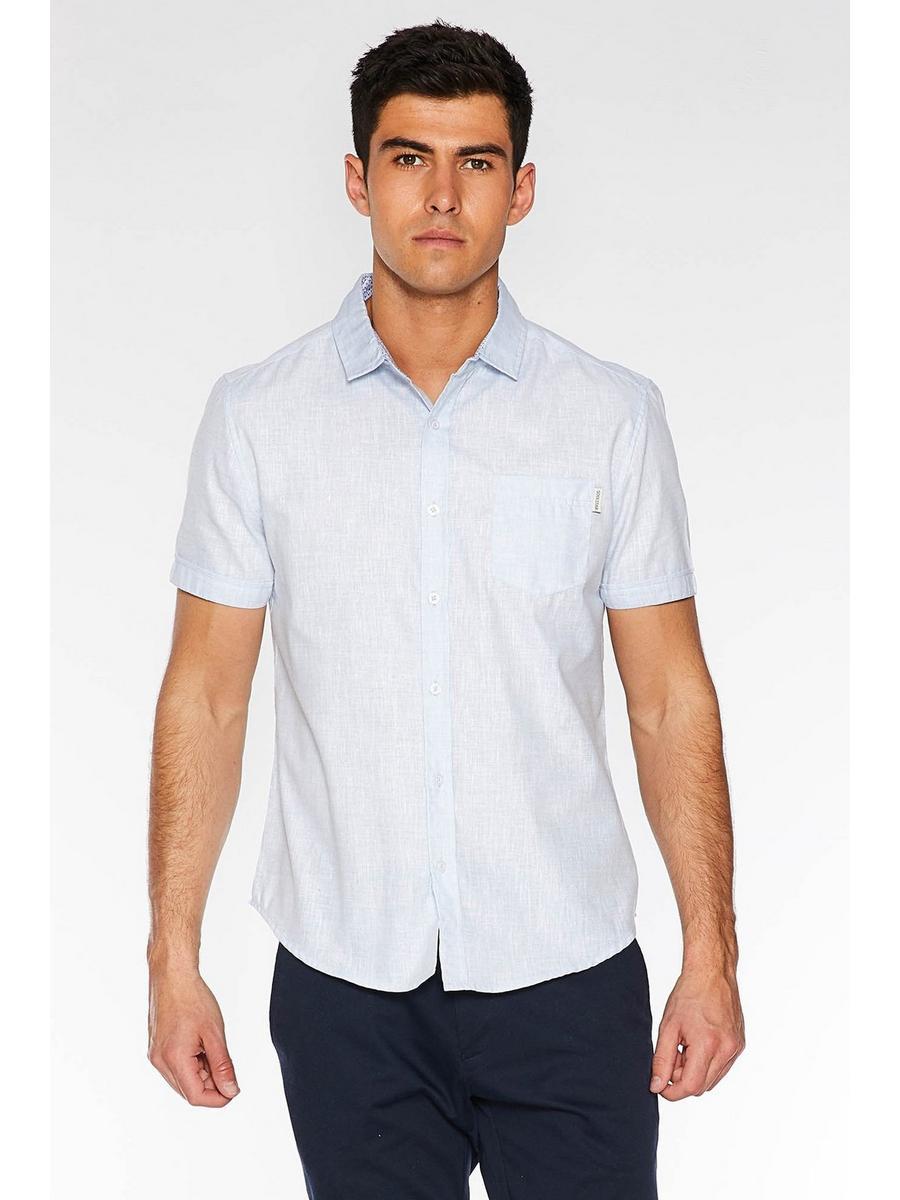 Light Blue Short Sleeve Linen Shirt