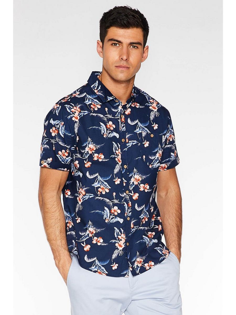 Navy Short Sleeve Tropical Print Shirt