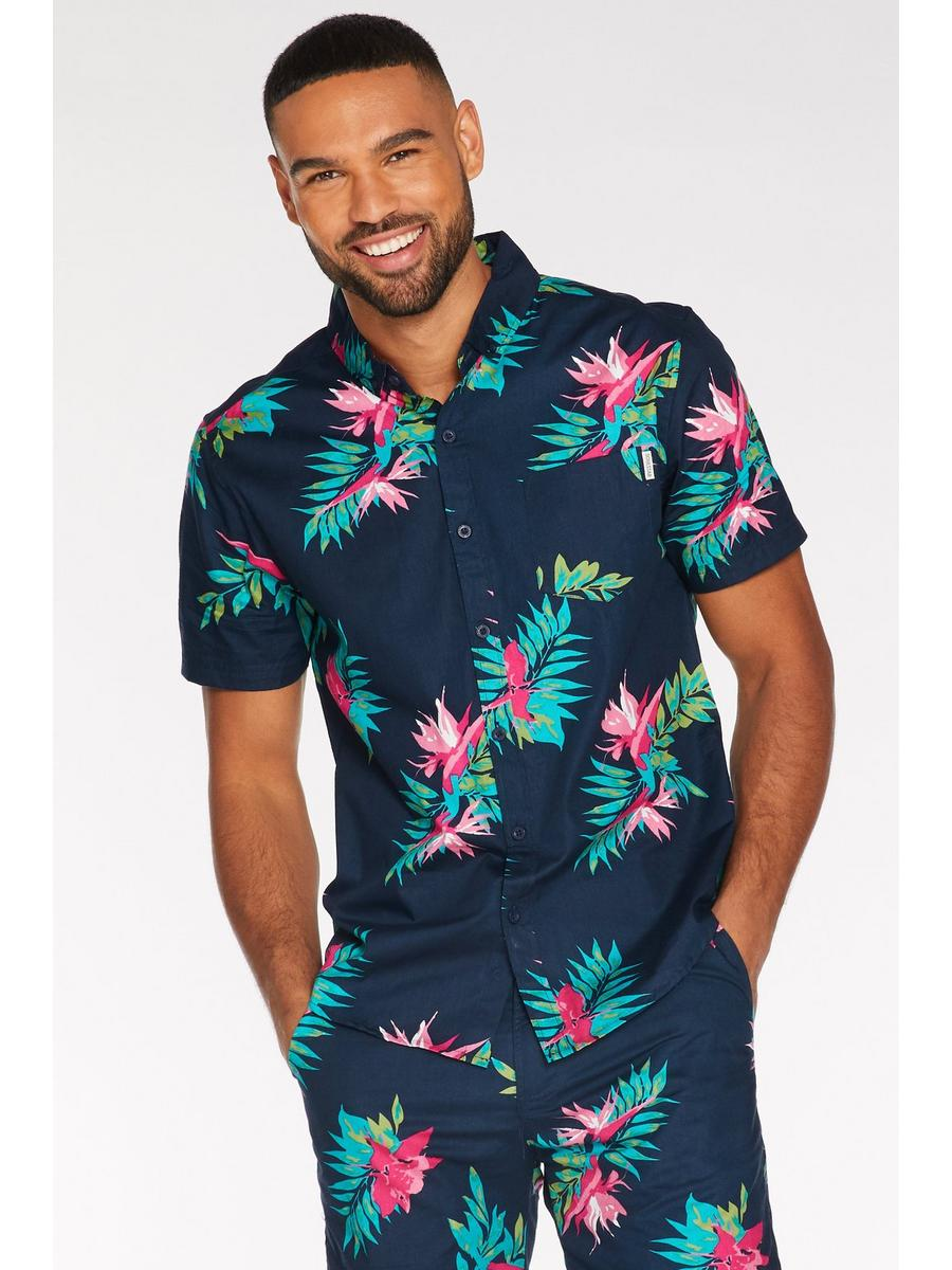 Tropical Print Shirt in Navy