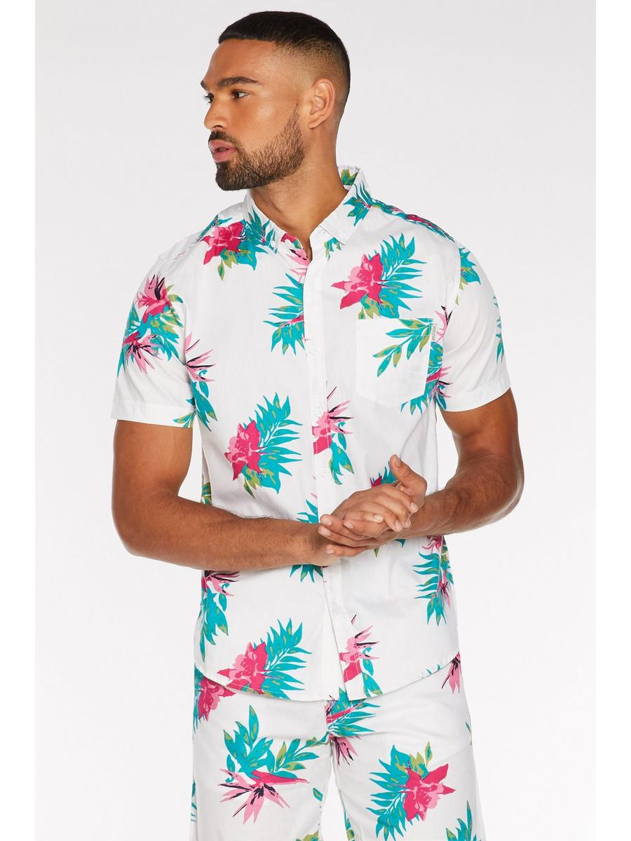 Tropical Print Shirt in White
