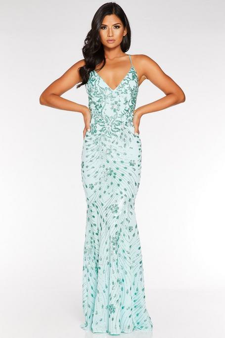 Mint Sequin V Neck Cross Back Fishtail Maxi Dress