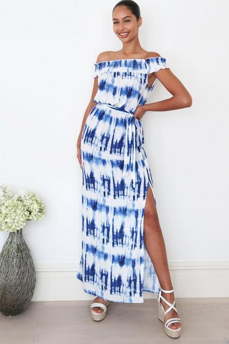 White and Blue Tie Dye Off The Shoulder Maxi Dress