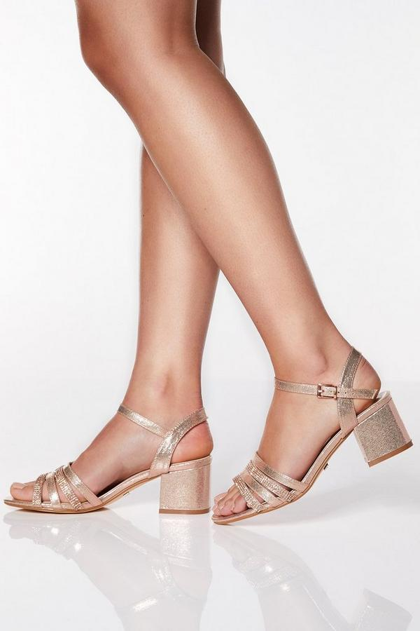 Sandalias de Tacón Oro Rosa con Brillantes de Corte Ancho