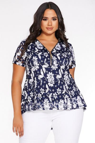 Plus Size Navy And Cream Lace Daisy Top