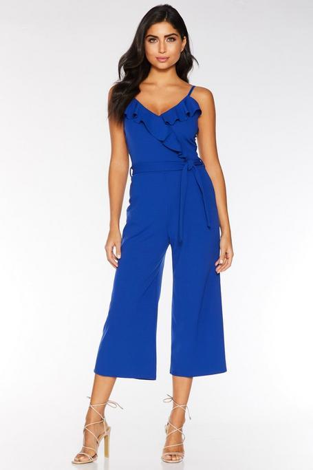 Royal Blue Frill Front Culotte Jumpsuit