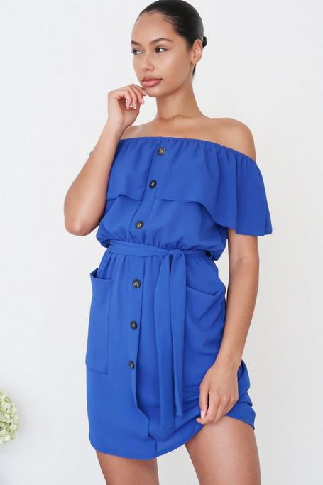 Royal Blue Off The Shoulder Button Front Dress