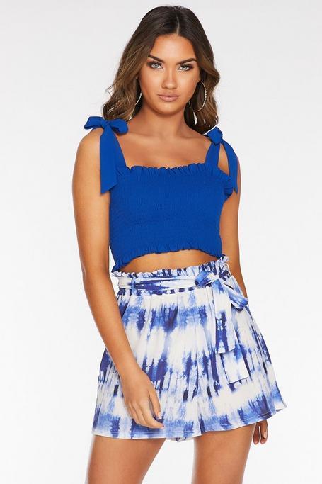 Royal Blue Shirred Crop Top