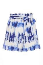 White and Blue Tie Dye Paper Bag Shorts