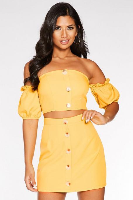 Yellow Button Front Mini Skirt