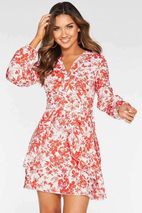 White and Red Floral Long Sleeve Frill Dress