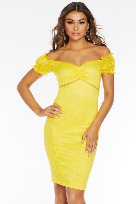 Vestido Midi Amarillo con Escote Bardot