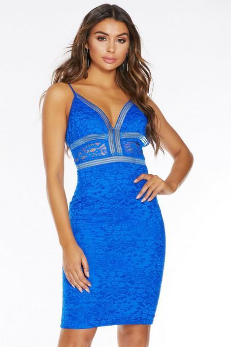Royal Blue Lace V Front Midi Dress