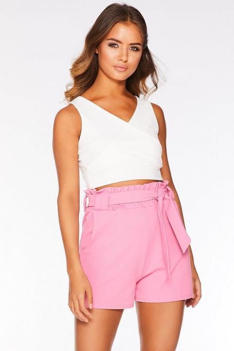 Pink Paper Bag Belted Shorts