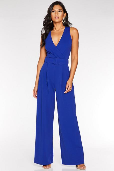 Royal Blue Wrap Front Belted Palazzo Jumpsuit
