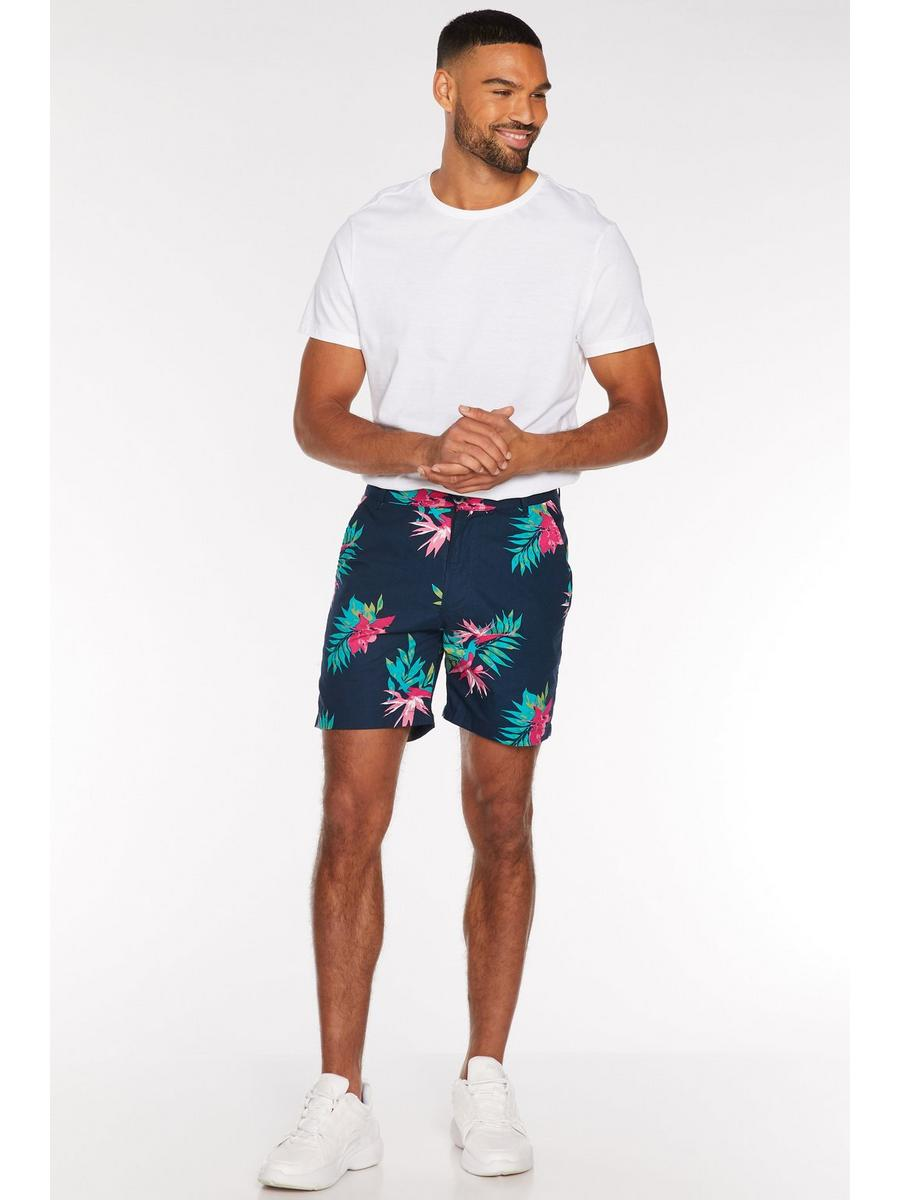 Tropical Print Shorts in Navy