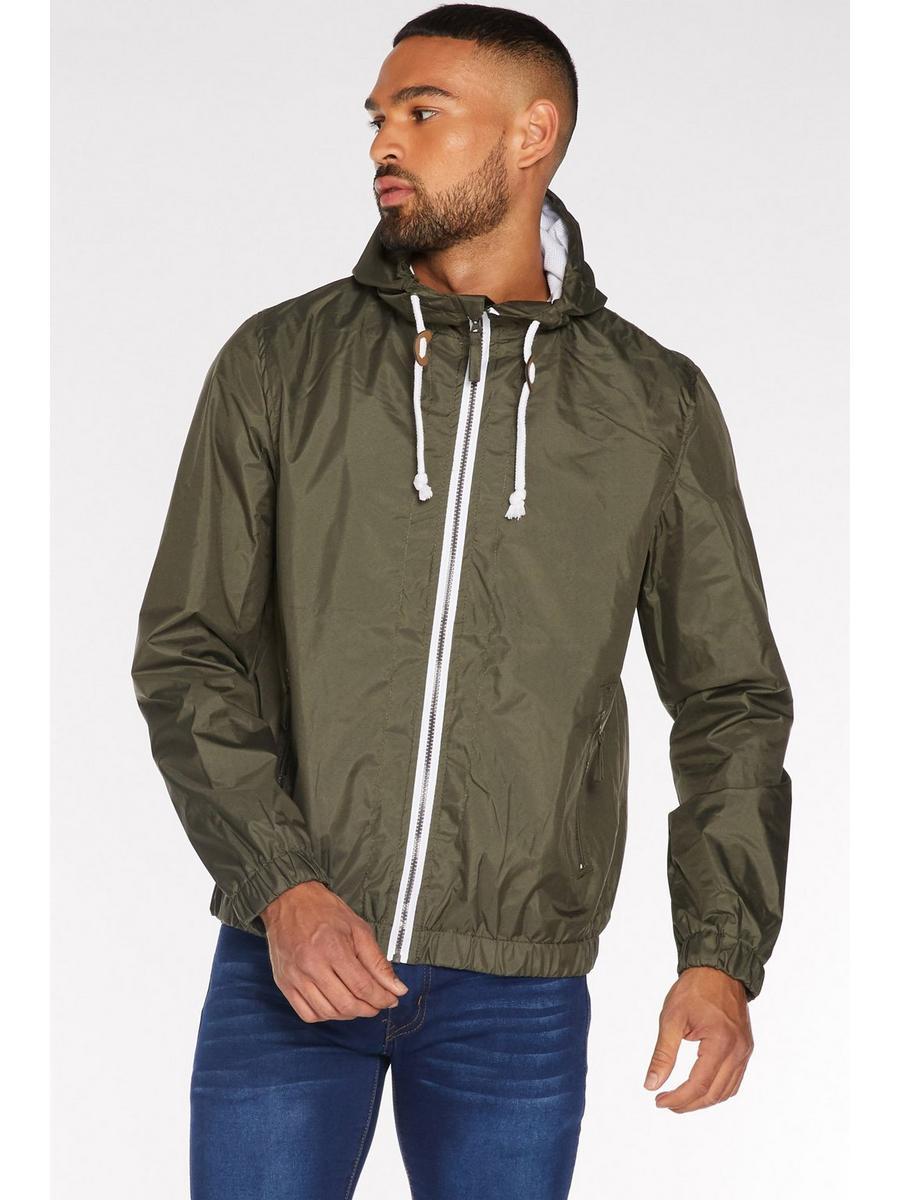 Lightweight Hooded Bomber Jacket in Olive