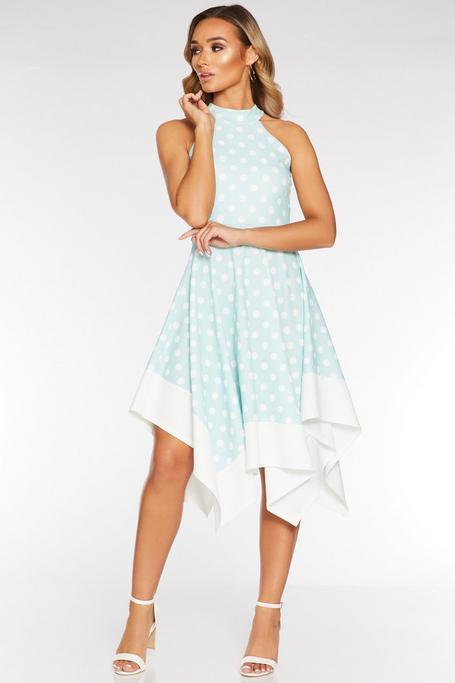 Mint Polka Dot Hanky Hem Midi Dress