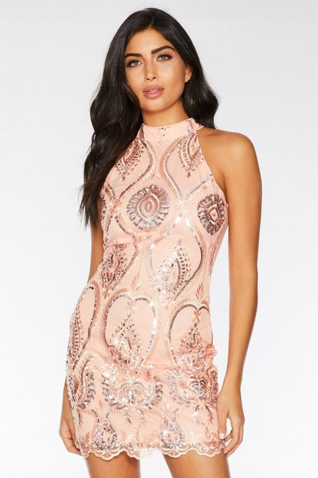 Coral Embellished High Neck Bodycon Dress