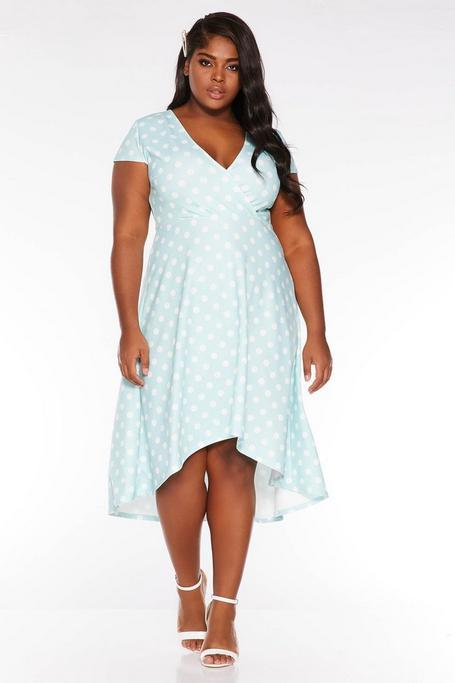 Plus Size Mint and Cream Polka Dot Wrap Dip Hem Dress