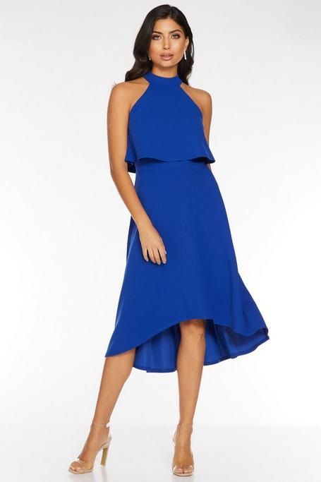 Royal Blue High Neck Dip Hem Dress