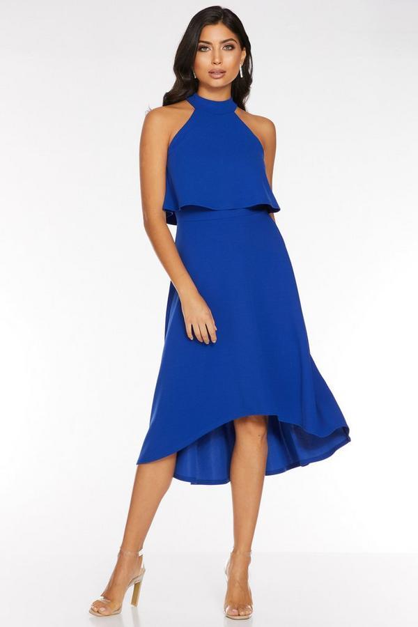 Vestido Azul Real con Volantes y Bajo Asimétrico