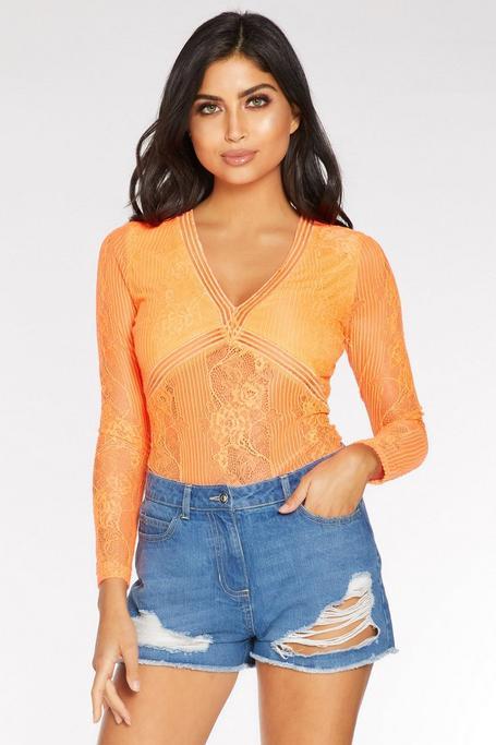 Neon Orange Lace Long Sleeve Bodysuit