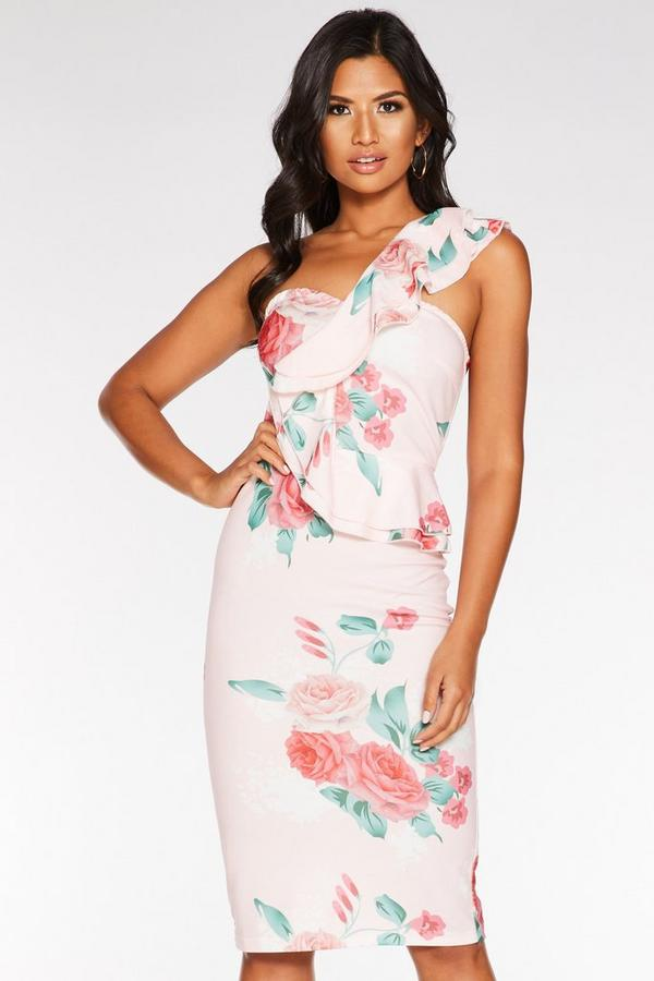 Vestido Floral Rosa Asimétrico con Volantes