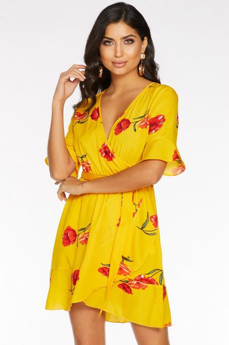 Yellow And Red Floral Wrap Skater Dress