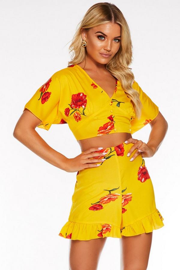 Yellow And Red Floral Button Front Crop Top