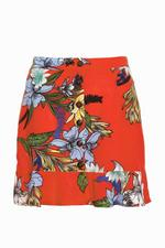 Orange and Blue Floral Button Front Skirt