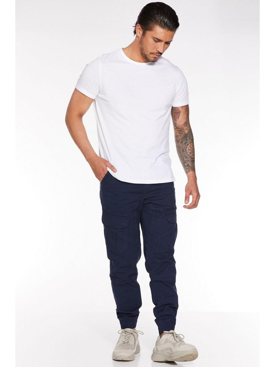 NAVY CUFFED CARGO PANTS