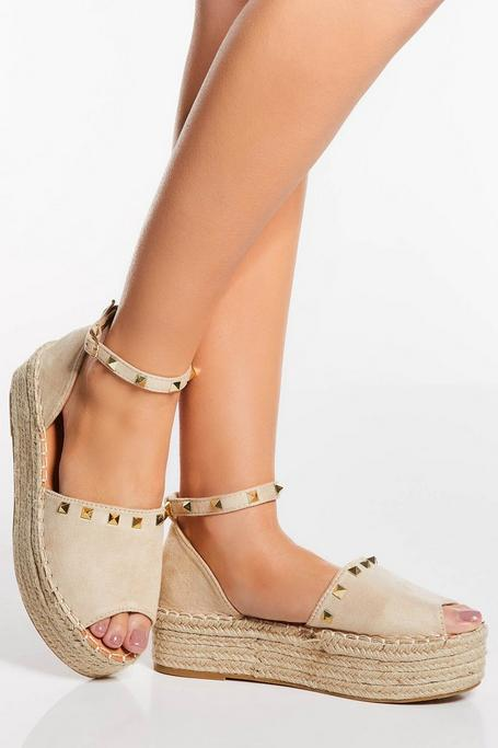 Cream Stud Peep Toe Flatforms