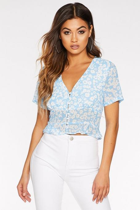 Blue And White Floral Peplum Top