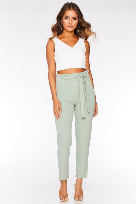 Sage Green Paper Bag Tapered Trousers