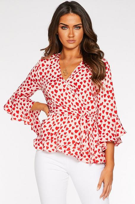 Pink and Red Heart Wrap Top