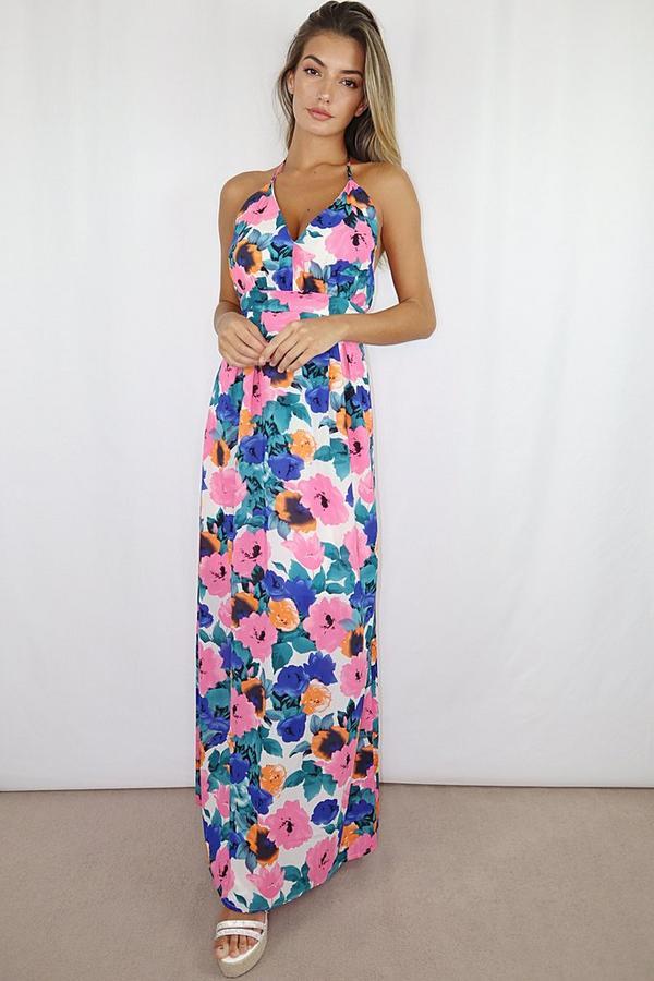 Vestido Largo Floral Multicolor con Espalda Descubierta