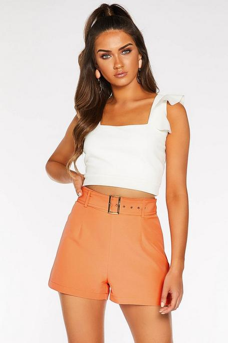 Coral Woven Square Buckle Shorts