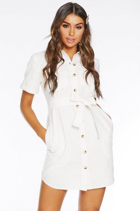 Vestido Blanco de Estilo Militar con Manga Corta