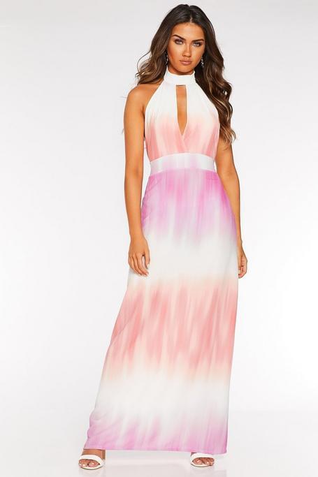 Pink and Peach Tie Dye Halter Neck Maxi Dress