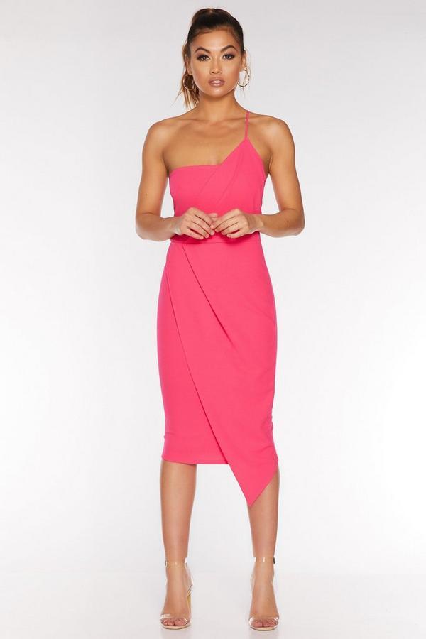 Vestido Midi Rosa Asimétrico