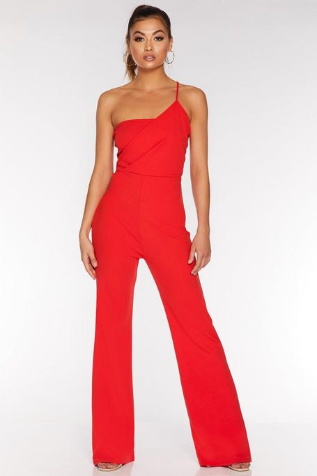 Red Asymmetric Palazzo Jumpsuit