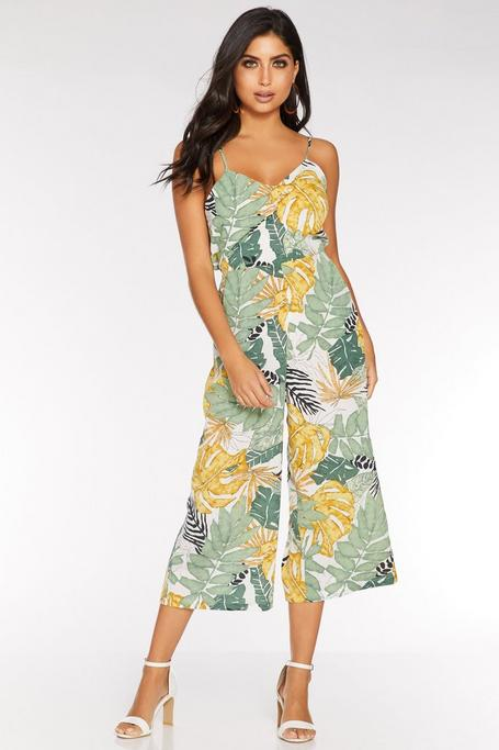 Stone Green and Yellow Tropical Print Culotte Jumpsuit