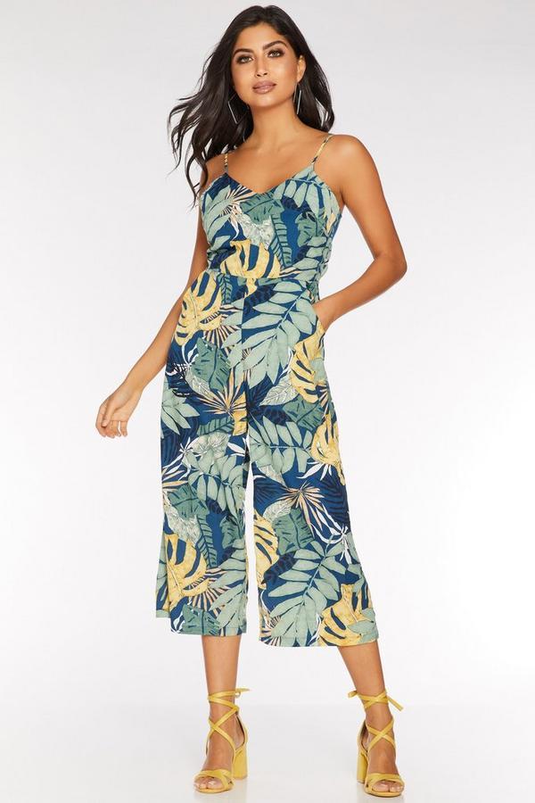 Mono Culotte Tropical Azul Marino Verde y Amarillo