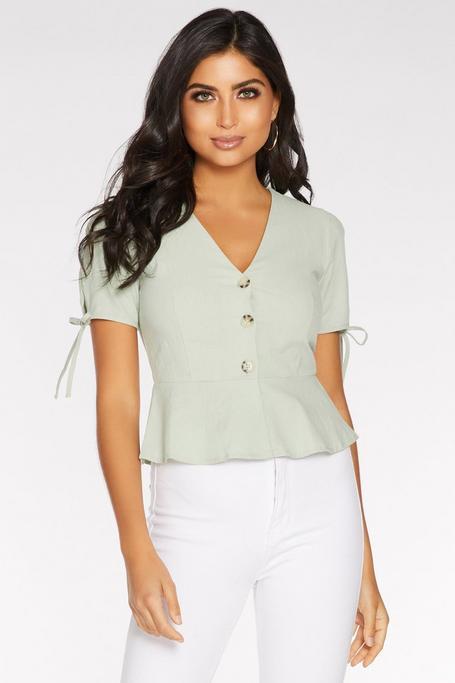 Sage Green Linen Button Front Peplum Top
