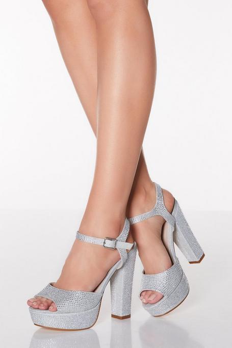 Sandalias de Tacón Plateadas a con Plataforma